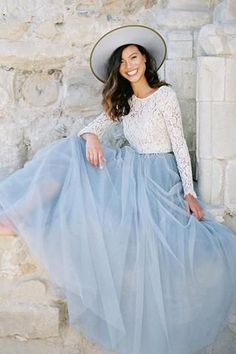 Inspired by the Pantone Color of the Year Serenity and constructed with soft tulle for a ultra feminine vibe. As seen on Green Wedding Shoes. Please review all photos of the color on the models and re