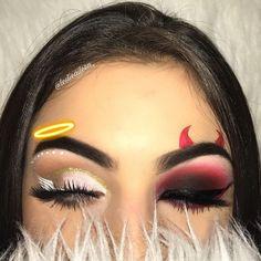 Try the Two-Faced Halloween Look That's Breaking the Internet #halloween2017 #halloweenmakeup #angel #deville #halloweencostumes #makeup #eyemakeup