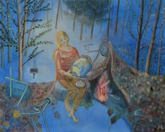 Margaretha Gubernale's artworks are a tightrope walk. On the one hand she paints abstract thoughts, and on the other hand, she uses natural forms to focus the symbolic parable as clearly as possible. World Peace, Surrealism, Symbols, Contemporary, Artist, Painting, Kunst, Icons, Painting Art