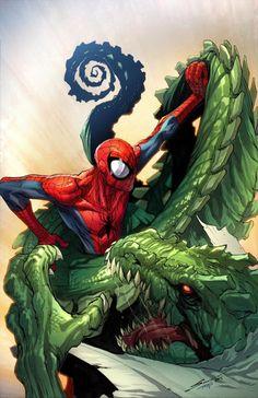 "extraordinarycomics: ""Spider-Man vs The LIzard by GERARDO SANDOVAL. """