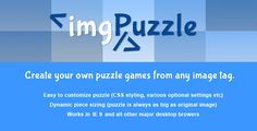 jQuery - imgPuzzle . Easy to use API to create your own puzzles with multiple