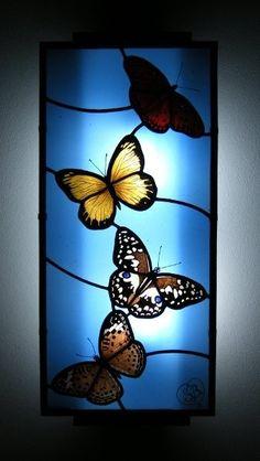Lámpara de mariposa del vitral - foter