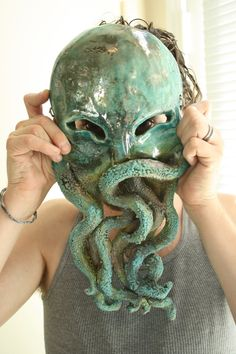 Laughing Cthulhu Monster Raku fired ceramic by naturallyinspired