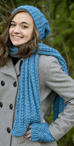 Free Knitting Pattern for Quick Easy One Row Repeat Hat, Scarf and Mitts Set - Easy set features a one row repeat of a broken rib pattern for slouchy hat, fingerless mitts, and scarf. Quick knit in super bulky yarn. Designed by Susie Bonell for Cascade Yarns