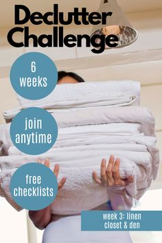 This Declutter Checklist for Den & Linen Closet is the of 6 posts to help your decluttering. It's a Decluttering Scavenger Hunt to help you with your next decluttering project. Declutter Your Home, Organizing Your Home, Organizing Tips, Minimalist Living Tips, Challenge Week, Konmari, Decluttering, Spring Cleaning, Keep It Cleaner