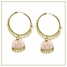 Beautiful lightweight hoop jhumki earrings. Available in lots of colours. Jhumki Earrings, Indian Earrings, Stone Earrings, Indian Jewelry, Dangle Earrings, Green And Gold, Blue Gold, Ivory Pearl, Chandelier Earrings