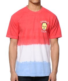 Rep your favorite Odd Future member with an Earl Sweatshirt face and text left chest graphic with a unique red, white, and blue colorblocked tie dye look.