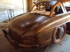 1:1 Replica of Mercedes Benz 300SL made of wood