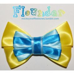 A medium (4 inches) hair bow inspired by Ariel's best friend from under the sea, Flounder from Disney's The Little Mermaid. Choose your clip type using the dro…