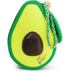 Betsey Johnson Avocado Wristlet featuring polyvore, women's fashion, bags, handbags, clutches, purses, accessories, lime, purse wristlet, yellow purse, man bag, pocket purse and yellow clutches