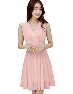 39137d73695 online shopping for Tanming Women s Sleeveless V-Neck Knee Length Tank  Chiffon Dress With Belt from top store. See new offer for Tanming Women s  Sleeveless ...