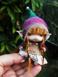 sweet tiny red haired posable ooak fairy
