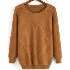 Round Neck Cable Knit Sweater ($14) ❤ liked on Polyvore featuring tops, sweaters, khaki, pullover sweater, cable knit sweater, sweater pullover, brown sweater and long sleeve tops