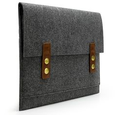 """Amazon.com: Lavievert Handmade Dark Gray Wool Felt Case Vintage Style Bag Sleeve Pouch with Authentic Leather and 2 Magnetic Buttons for Apple 11"""" MacBook Air: Computers & Accessories"""