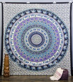Hippie Elephant Tapestries Large Size Tapestry Wall Hanging Mandala Tapestries Bohemian Tapestries Wall Tapestries Dorm Decor Queen Bed Cover Bedding A)