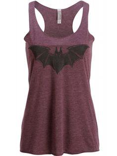 Pretty Attitude Women's Purple Bat Loose Fit Tank Top