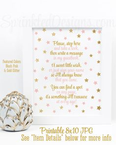 Guest Book Sign - Twinkle Little Star Baby Shower or Baby Girl Birthday Guest Book Sign, Blush Pink Gold Glitter Printable Party Sign 8x10