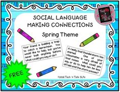 This product includes 30 social language scenarios to help your students reflect on the best actions, responses, and requests for social situations.Includes:10 scenarios with a St. Patrick's Day theme10 scenarios with an Easter theme10 scenarios with an April Showers theme