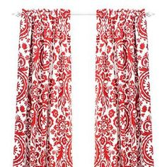 Cotton window panel with a suzani motif. Made in the USA.  Product: Curtain panelConstruction Material: 100% CottonColor: Red and whiteFeatures:  TopstitchedMade in Council Bluffs, Iowa Cleaning and Care: Dry clean