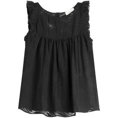 Paul & Joe Sheer Top Shell (1.040 RON) ❤ liked on Polyvore featuring tops, black, twisted drape top, shell tops, loose fitting tops, ruffle top and flounce tops