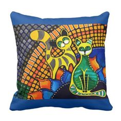 Cheer Up My Friend - Colorful Rainbow Cat Art Throw Pillow