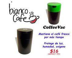 CoffeeVac el deposito para mantener la frescura del café por mas tiempo, disponible solo en Bianco... pinned with Pinvolve