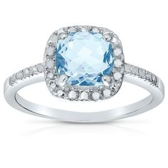 Dolce Giavonna 18k Gold or Sterling Silver 1/10ct TDW Diamond and Cushion-cut Gemstone Ring (I-J, I2-I3) (Blue Topaz, Size 7), Women's
