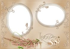 Elegant PNG Love Photo Frame with Swan-and Rose