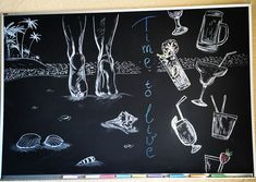 Chalkboard art bar cafe beach time to live cocktails feet shells