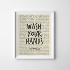 Funny Printable Bathroom Art Wash your hands. No, seriously. Looking for more bathroom art? Check our shop here:
