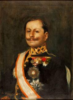 """Lote: 34004233. CASAS CARBÓ, Ramón (Barcelona, 1866 – 1932). """"Retrato del General Weyler"""", 1915. Óleo sobre lienzo. Firmado y fechado en el ángulo inferior izquierdo. Adjunta certificado de autenticidad emitido por Marçal Barrachina. Medidas: 65 x 45 cm; 92 x 71 cm."""