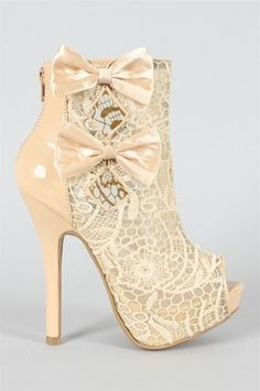Beige Lace See-thru Bow Accent Peep Toe Heel -A little too high, but very pretty.
