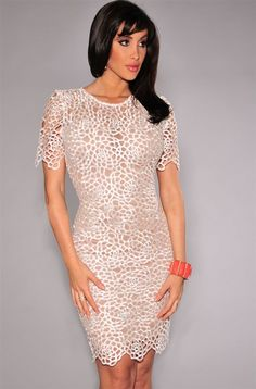2015 New Patchwork O-Neck Red Embroidered Lace Nude Illusion Bodycon Dress Women Summer Midi Dress Free Shipping GY22011