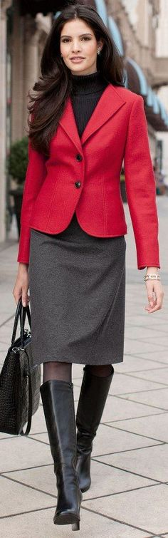 Fashion for the Office _SKIRT LONGER FOR ME _ JACKET LONGER AND I LOVE THE BOOTS AND BAG AND TURTLE NECK