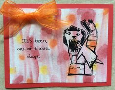 T. Holtz Big Top lion tamer card with watercolored background