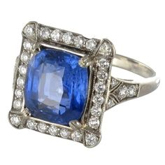 French Ceylon Sapphire Diamond Gold Ring  | From a unique collection of vintage engagement-rings at https://www.1stdibs.com/jewelry/rings/engagement-rings/