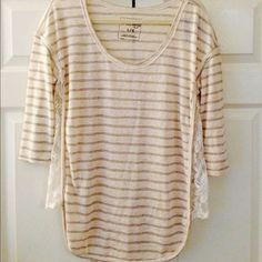 """NWOT Free People Ivory & Gray Stripe lace Knit Top Brand new without tags we the free Free People knit top with lace sides. Size large Ivory with grey stripes. Polyester cotton nylon rayon blend machine wash. Little sheer. Bust flat is about 18"""" length 29"""". Free People Tops Tees - Long Sleeve"""