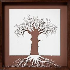 tree and root structure - in cut paper art