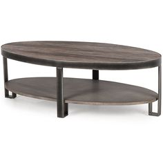 Andrew Martin Thomas Coffee Table - Oval two layer coffee table made from wood iron legs and frame.  Add some designer style to home interiors with the Thomas coffee table from Andrew Martin.  Each oval coffee table is wrapped in a dark metal flat barrel frame which holds the wooden top snugly in place.  The textured grain of the table top is contrasted against the smooth cement board of the lower shelf.