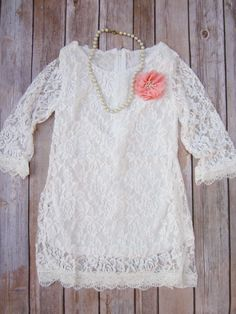 Ivory Lace Flower Girl Dress, Lace dress, Coral dress, Vintage Style Dress Shabby chic