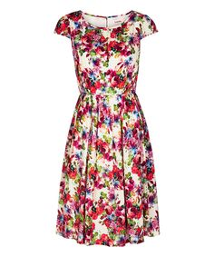 Loving this Pink Rose Cap-Sleeve Dress on #zulily! #zulilyfinds