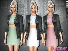The Sims 4 Mody: Sukienka z płaszczem skórzanym od Sims2fanbg