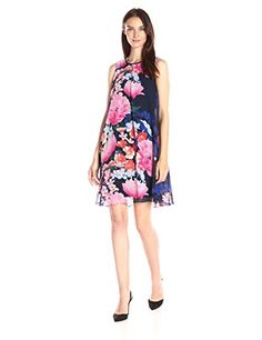 Vince Camuto Womens Printed Chiffon Overlay Dress Navy 10 >>> Click image to review more details. (This is an affiliate link and I receive a commission for the sales)