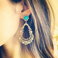 Sundara Jewelry turquoise and gold filigree earrings