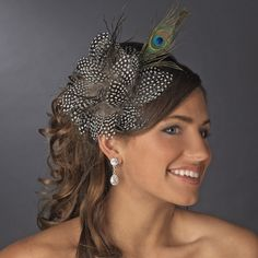 Peacock Headband with Guinea Feathers $40.00