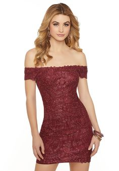 Mori Lee 33071 Fitted Lace Off the Shoulder Dress