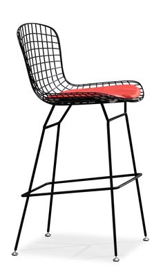 Bertoia Style Wire Bar or Counter Stool (Multiple Colors for Frame and Cushion)   Designer Reproduction