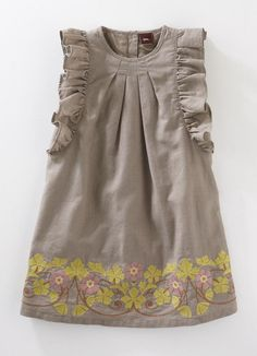Cute linen girl's dress with fabulous frills for sleeves