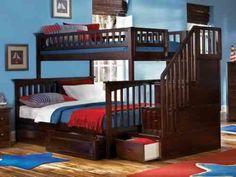 lit superposé deux places en bois