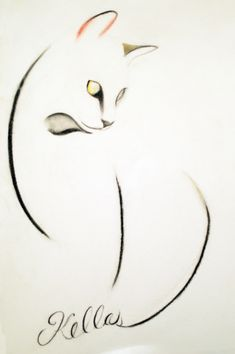 ARTFINDER: A Cat of Three Lines by Kellas Campbell - I used carbon pencil, charcoal pencil and pastel pencil to draw this elegant, long-limbed cat. Cat Drawing, Line Drawing, Cat Embroidery, Minimalist Drawing, Art Japonais, Art Techniques, Animal Drawings, Rock Art, Cat Art